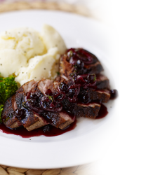 Pan Fried Duck Breast Served With a Rich Sauce of Blackcurrant Jam
